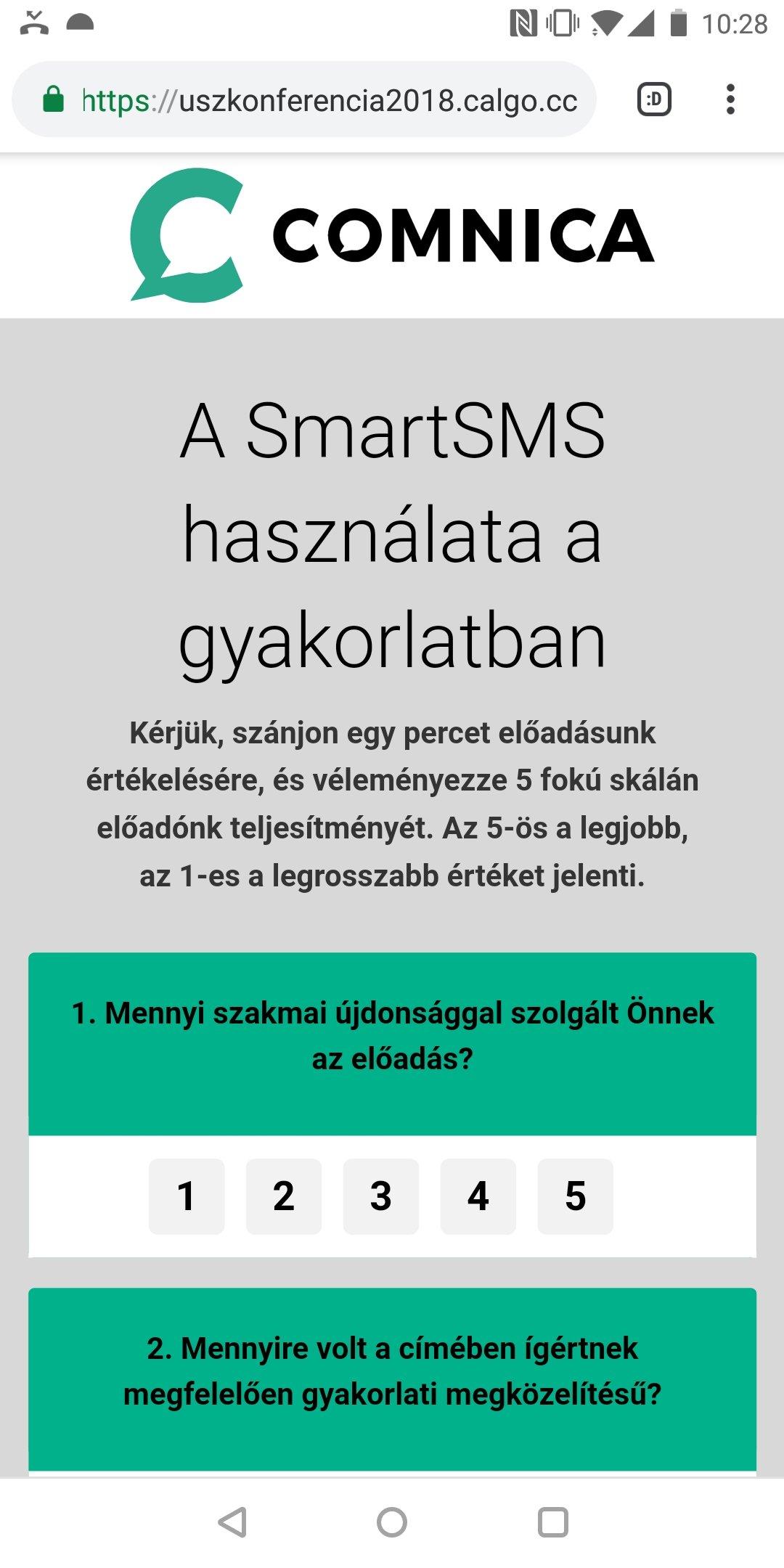 SmartSMS ügyfélvisszajelzés